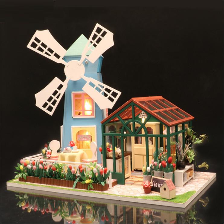 Mô hình nhà DIY Doll House Amsterdam Windmill Flower House Kèm Đèn LED và MICA chống bụi