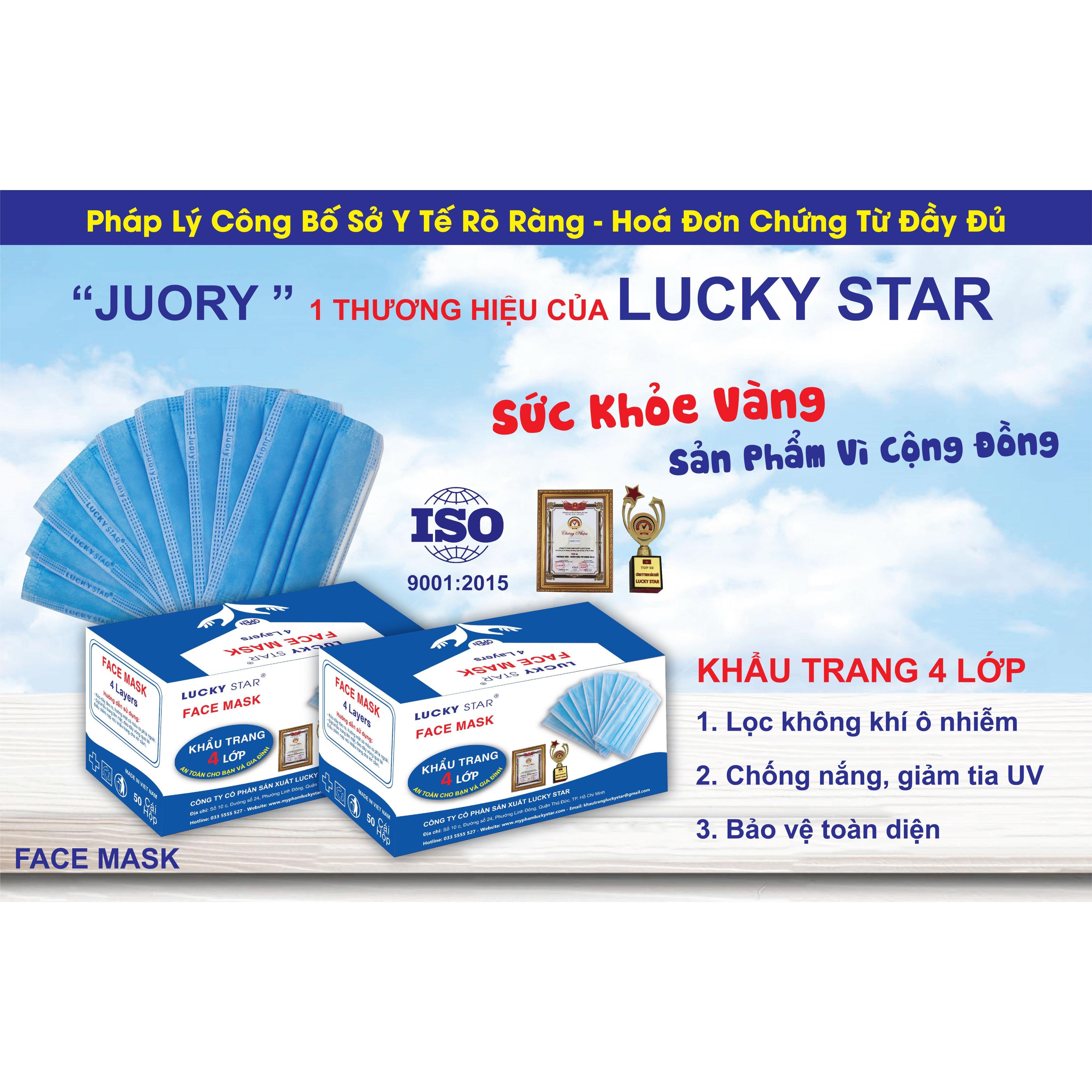 Khẩu Trang Y Tế 4 Lớp Cao Cấp Lucky Star 1 Hộp 50 cái