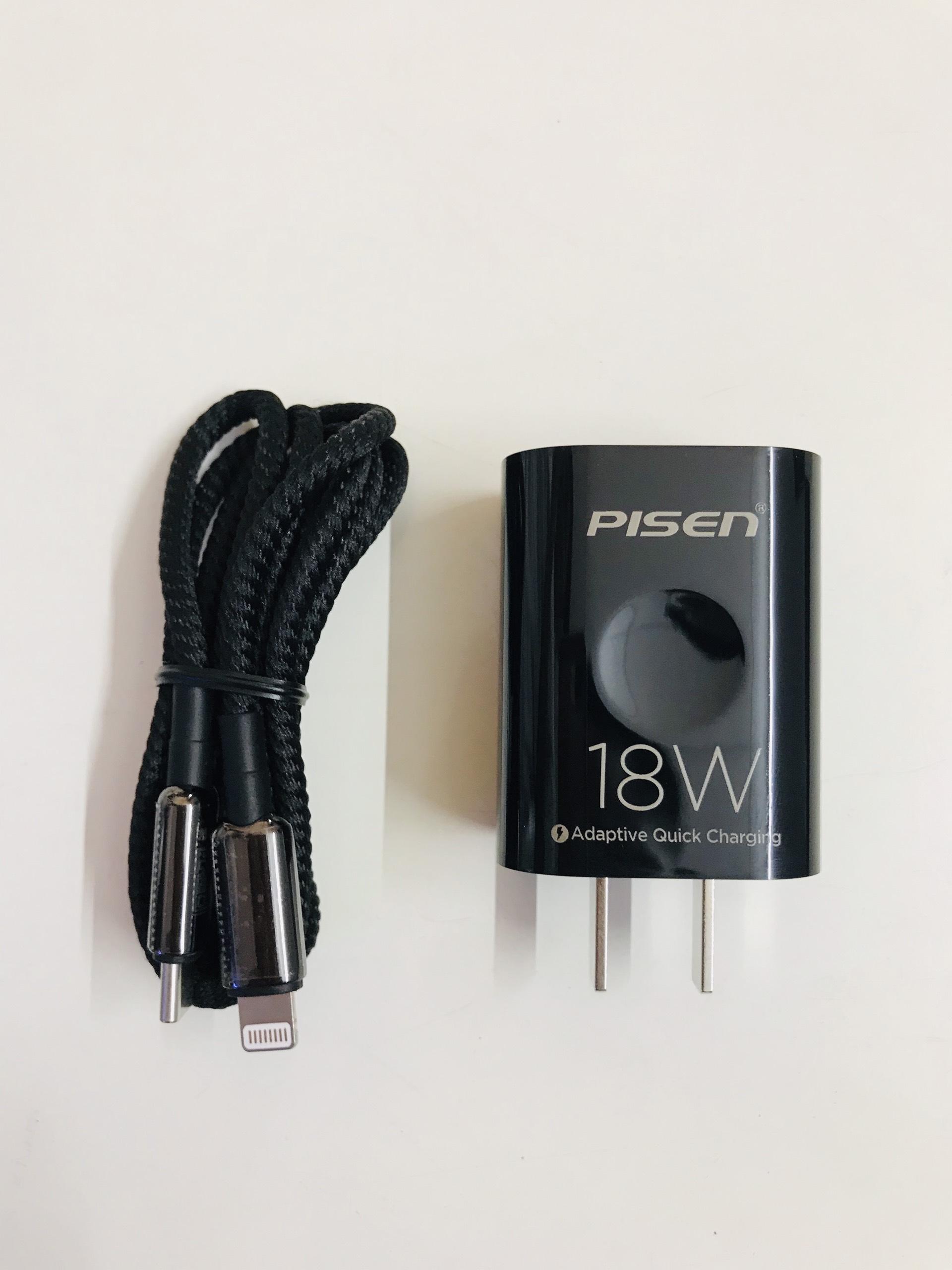 Sạc PISEN Quick PD 18W (Lightning & Type-C 3A ZINC Alloy , TSC-118 ) màu đen - Hàng chính hãng