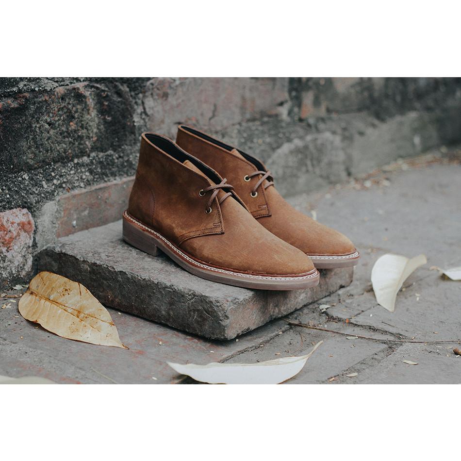 Giày cao cổ nam dà bò sáp Steed Chukka boots
