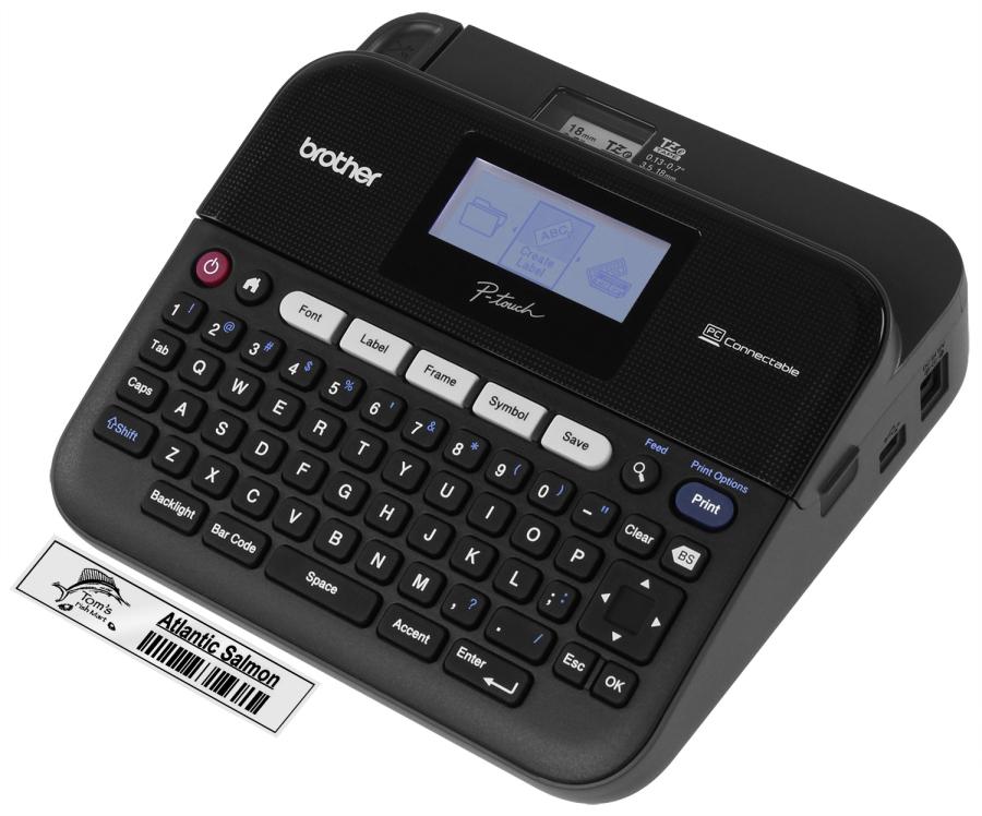 Máy in nhãn văn phòng Brother PT-D600, in nhãn khổ ngang 6,9,12,18,24 mm, kết nối PC - Hàng Nhập Khẩu