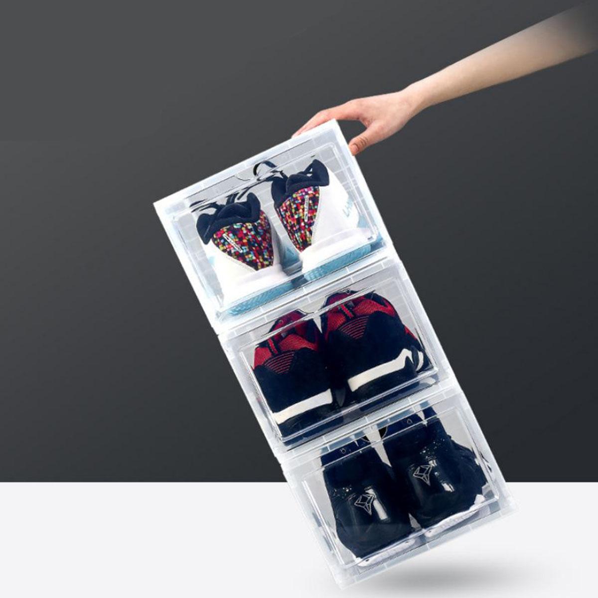 Hộp Đựng Giày H60 - Bộ 6 Hộp Chất Liệu Nhựa Cứng PP Cao Cấp Chịu Lực Tốt, Cửa Trong Suốt, Khóa Từ Nam Châm - Hộp Tháo Lắp Và Di Chuyển Dễ Dàng.