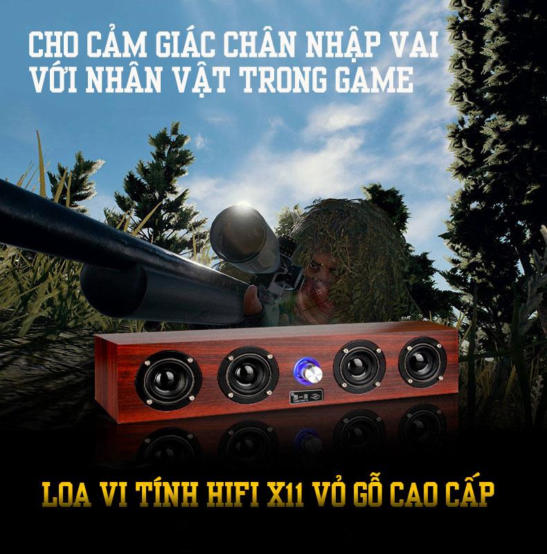 Loa Nghe Nhạc Máy Tính Để Bàn Vỏ Gỗ X-11 Âm Thanh Siêu Trầm + Tặng Cable Âm Thanh Chuẩn 3.5mm