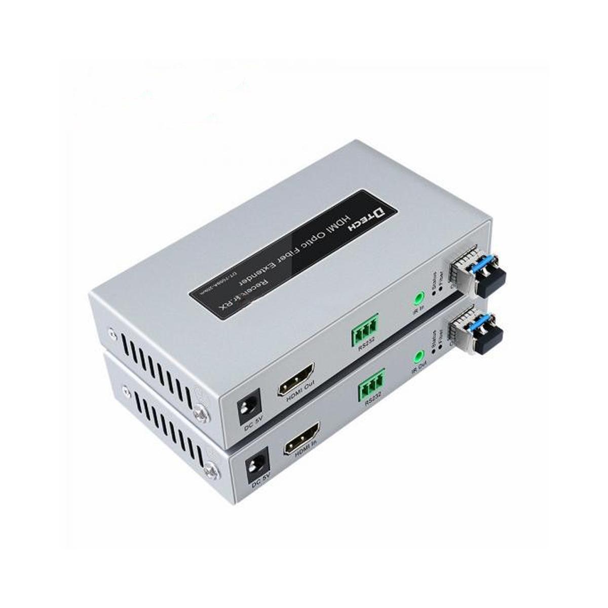 Bộ chuyển đổi kéo dài hdmi sang cáp quang DTECH DT-7059A (2 thiết bị,2 modul quang 1.5GB)- Hàng Chính Hãng