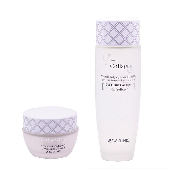 Bộ dưỡng trắng da - Bộ dưỡng da dưỡng ẩm chiết xuất từ Collagen 3W Clinic Hàn Quốc [Nước hoa hồng+ kem]