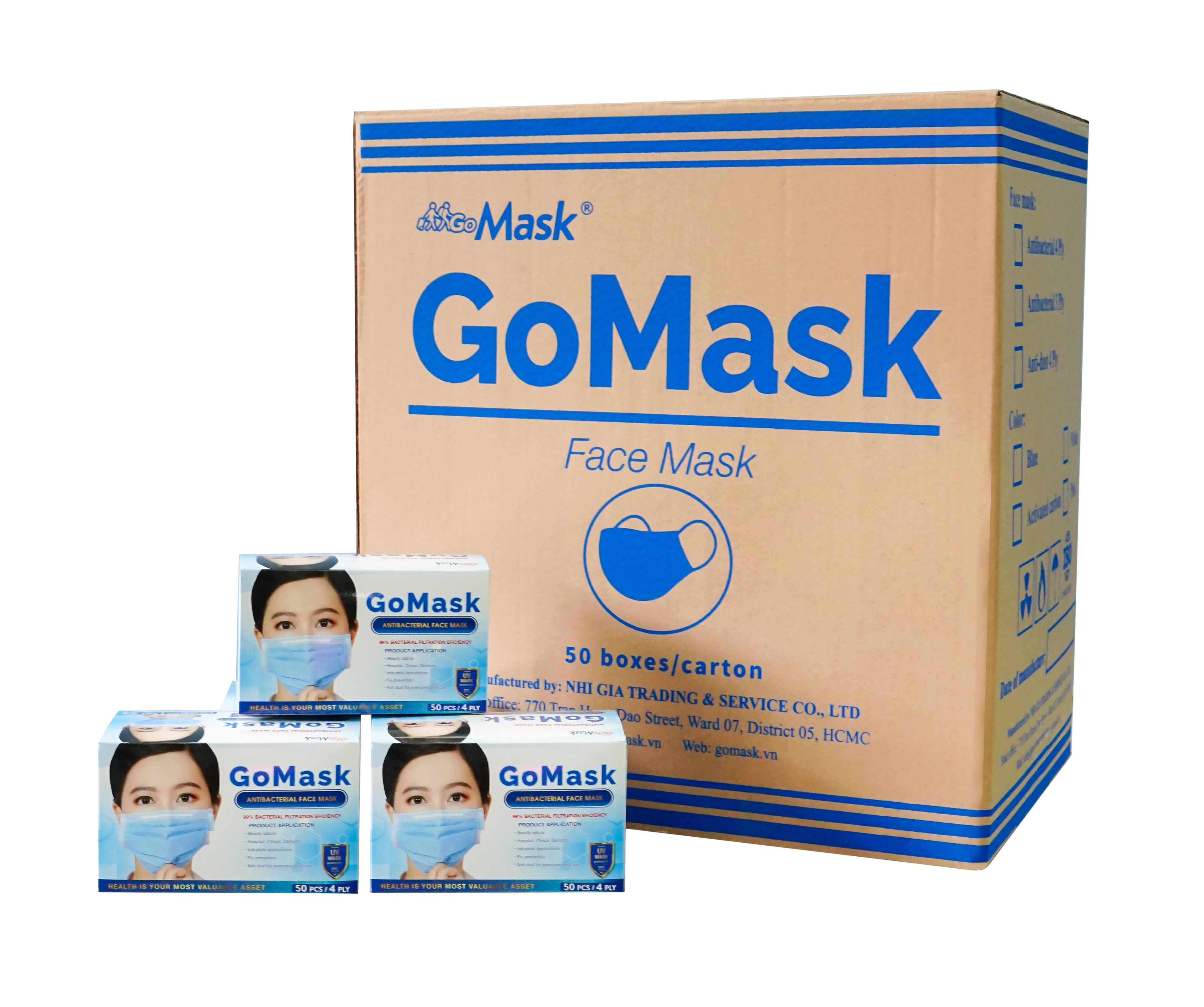 Khẩu trang 4 lớp kháng khuẩn Gomask dày dặn, ngăn ngừa vi khuẩn và bụi bẩn gây hại cho sức khoẻ. Size người lớn (50 cái/hộp)