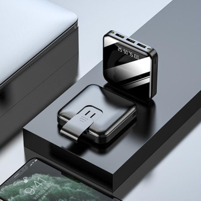 Sạc dự phòng mini mặt gương, có đèn pin led, dung lượng 20000mA  -PWBANK US02- Hàng Chính Hãng