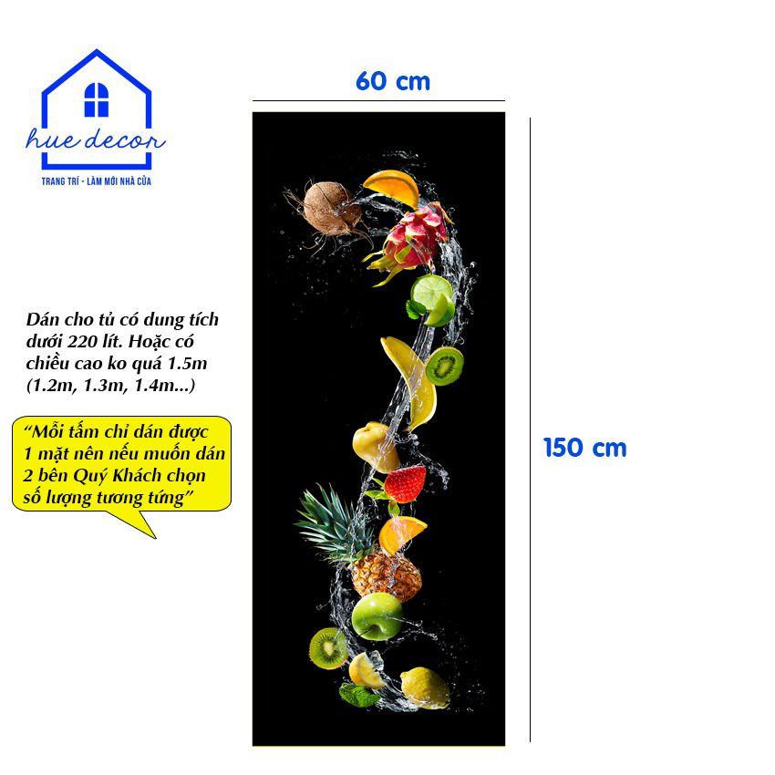 Decal dán tủ lạnh mẫu hoa quả - Chất liệu chống nước, phù hợp với mọi loại tủ