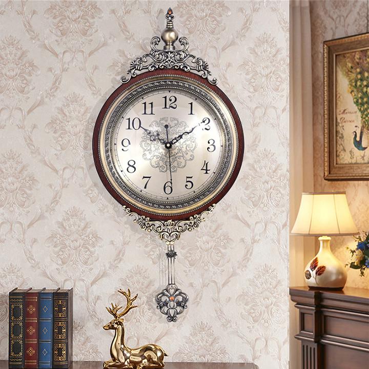 Đồng hồ cổ điển phong cách Bắc âu, Đồng hồ treo tường cổ điển, đồng hồ quả lắc kim trôi, đồng hồ treo tường tân cổ điển