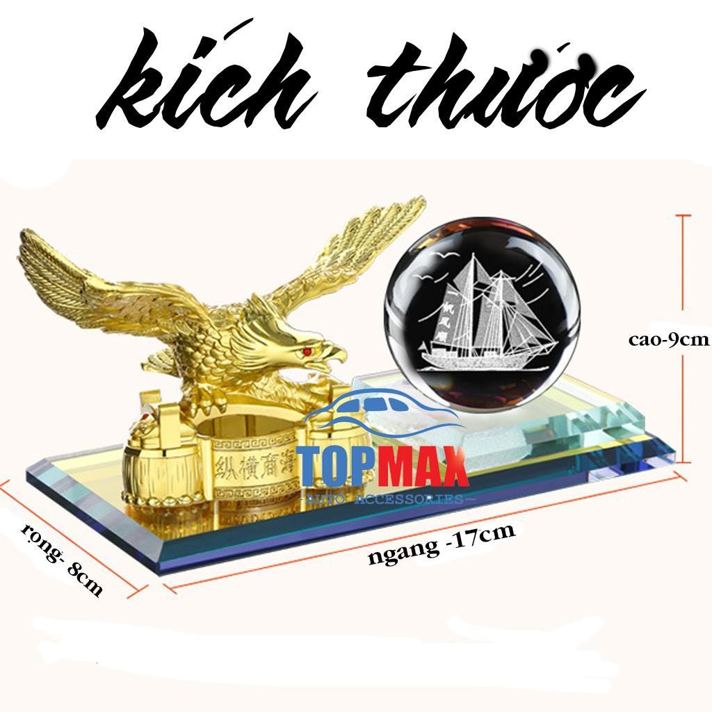 Tượng Quả Cầu Pha Lê Và Đại Bàng Dang Cánh Uy Mãnh