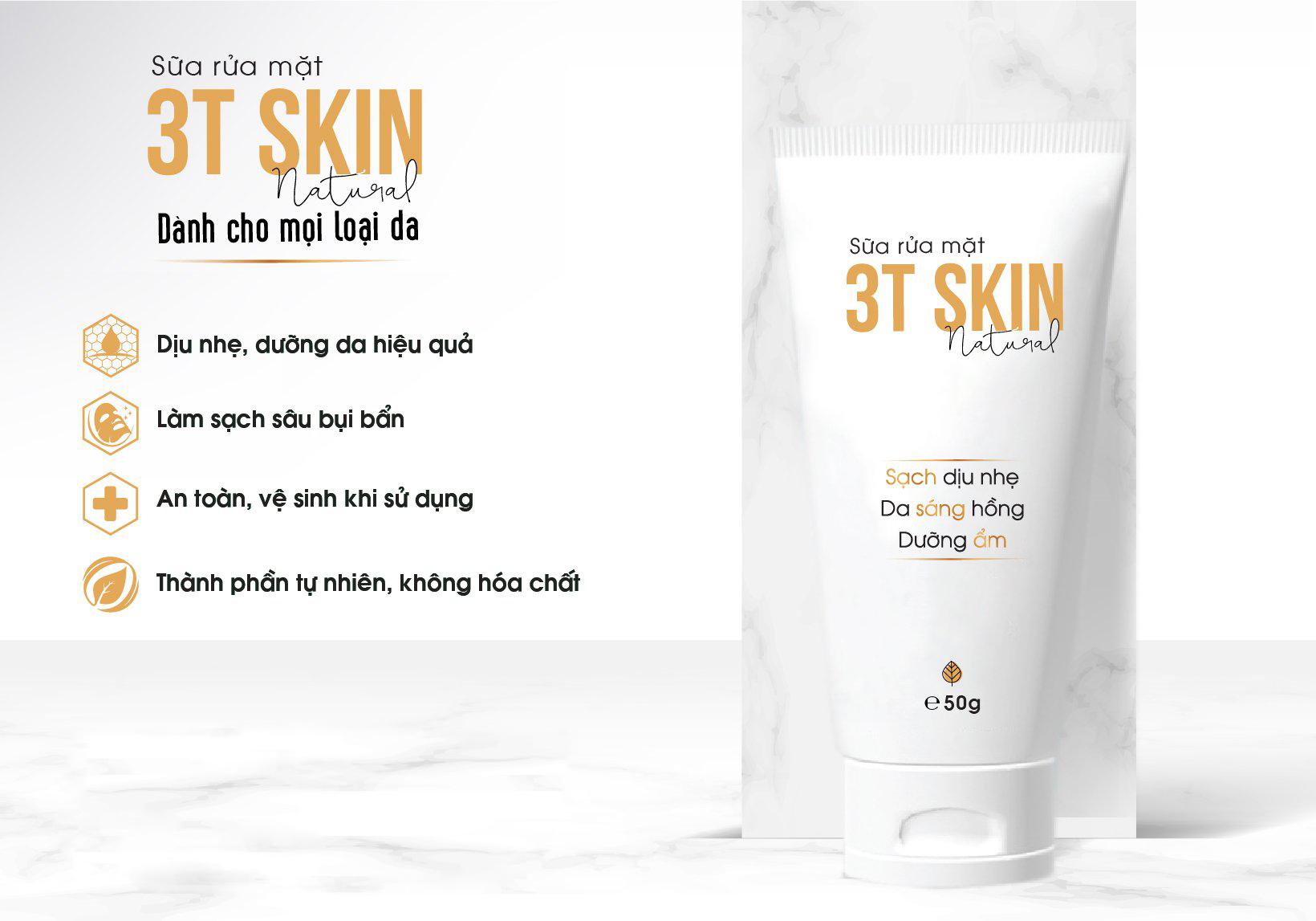 Combo 3 Sữa Rửa Mặt 3T Skin Sạch Sâu Dịu Nhẹ, Da Sáng Mịn Chiết Xuất Thiên Nhiên (50gr)