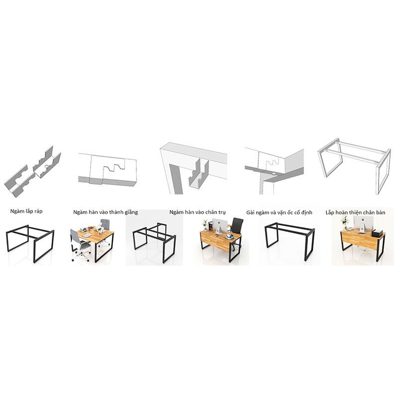 Bộ chân sắt Trapez-II hình thang vuông sơn tĩnh điện màu đen 1200x580x730mm lắp ráp