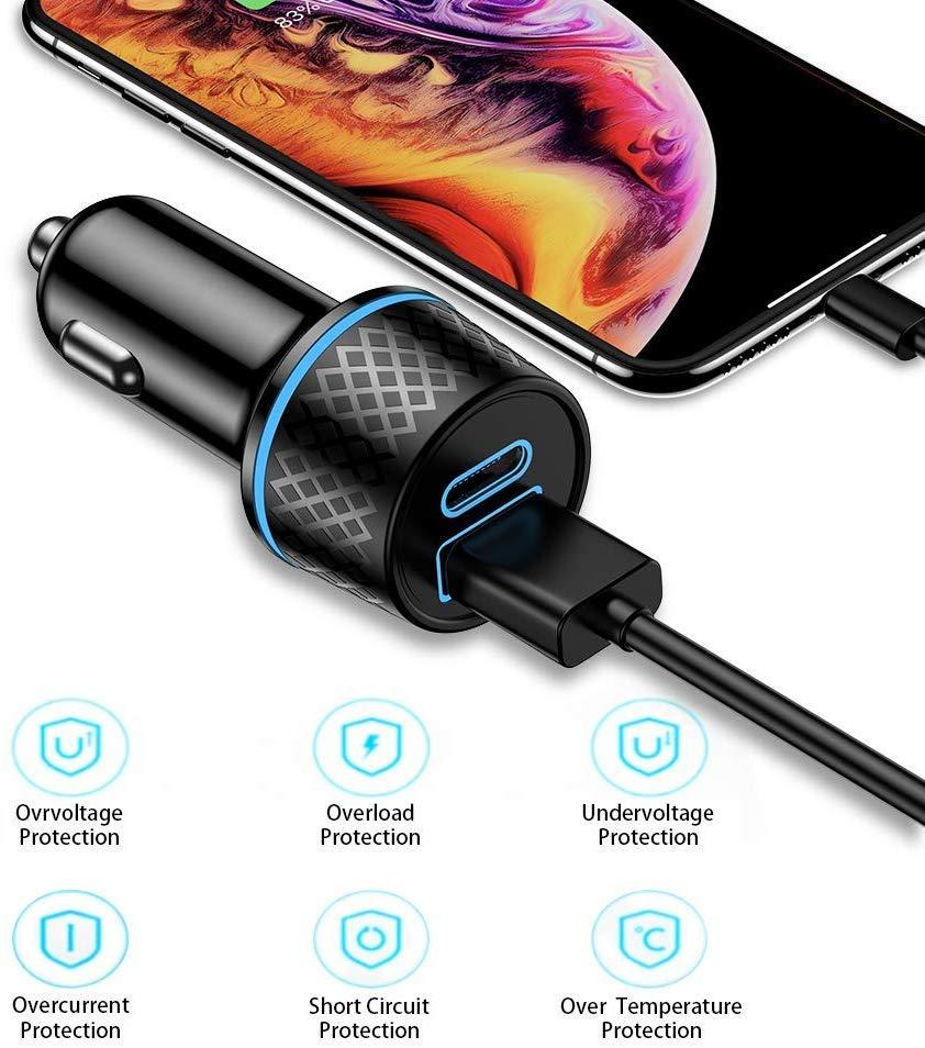 Tẩu sạc điện thoại trên ô tô USB C QGeeM 36W 2 cổng sạc nhanh Power Delivery (PD) & Quick Charge (QC) 3.0 cho iPad Pro 2020, iPhone, MacBook - Hàng Chính Hãng