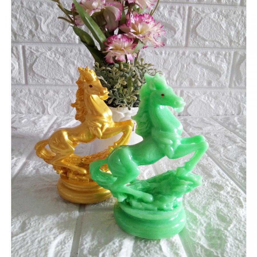 Cặp ngựa hý phong thủy đá poly xanh ngọc CNH12