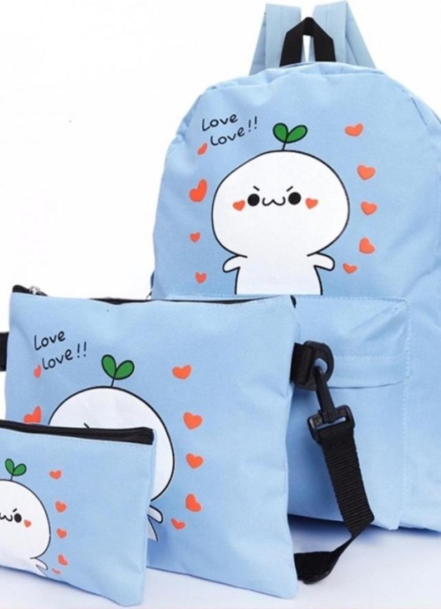 Bộ 3 ba lô thời trang họa tiết love love love - xanh