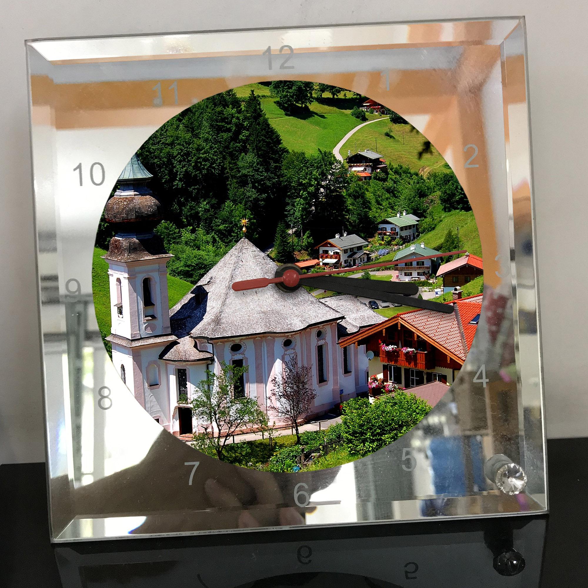 Đồng hồ thủy tinh vuông 20x20 in hình Church - nhà thờ (232) . Đồng hồ thủy tinh để bàn trang trí đẹp chủ đề tôn giáo