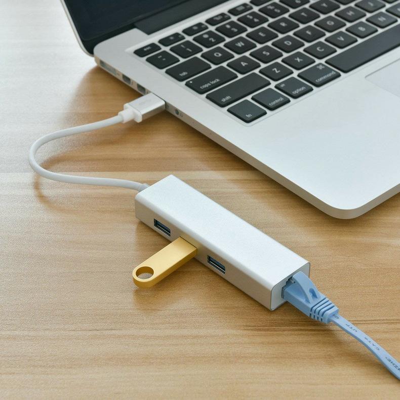 HUB USB chia 1 ra 3 cổng USB 3.0 và 1 cổng LAN 100Mbps vỏ nhôm