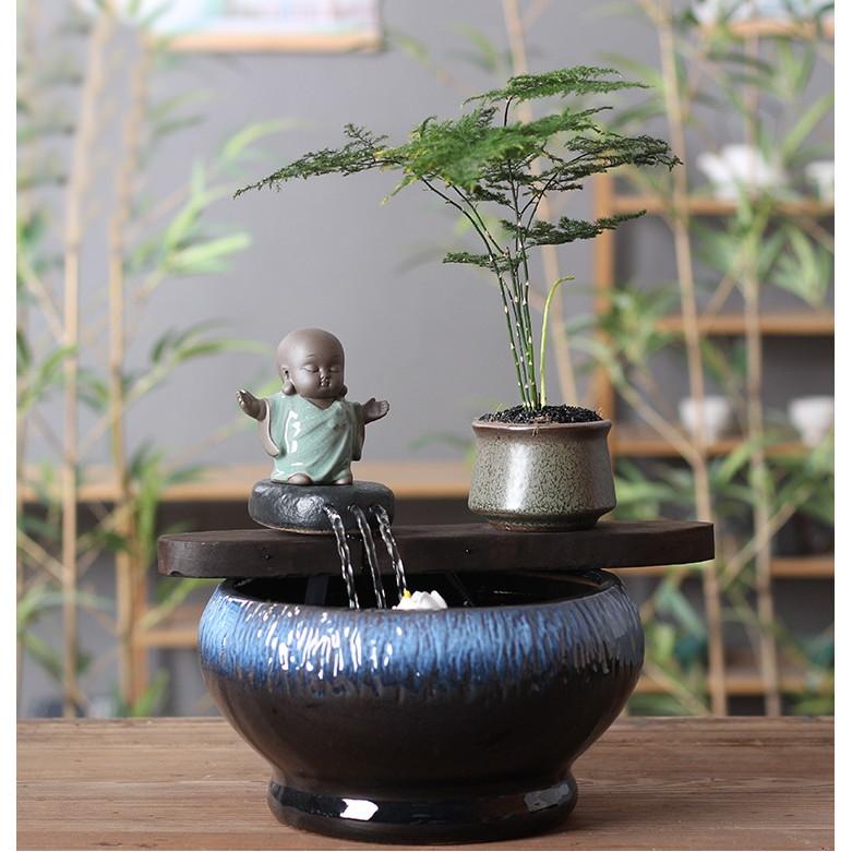 Thác Nước Phong Thủy Chậu Tròn Đá Thiền