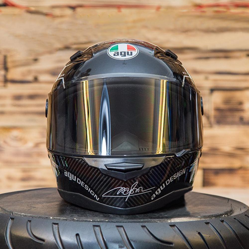 Nón Fullface Moto Phượt AGU 46 Bạc Trắng Siêu Chất + Tặng kèm túi đựng nón thương hiệu chống trầy