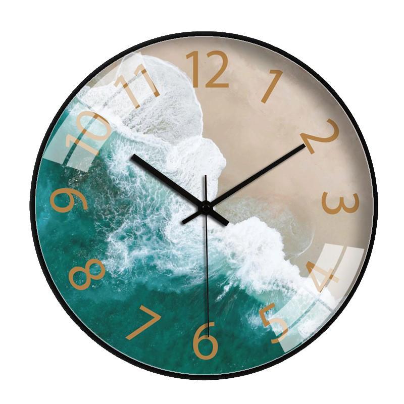Đồng hồ treo tường kim trôi họa tiết sang trọng cao cấp - 30 cm  - Biển