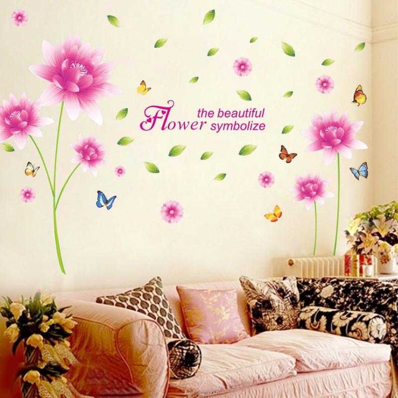 Decal dán tường cho bé hình hoa thược dược