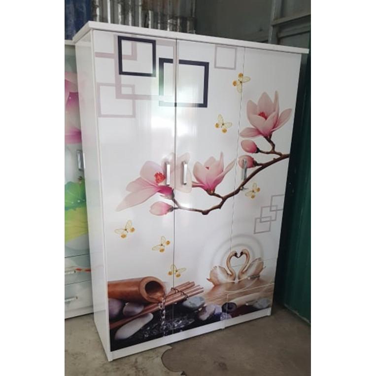 Tủ quần áo nhựa đài loan cao cấp 3 cánh 2 ngăn kéo in hình 3d ngẫu nhiên
