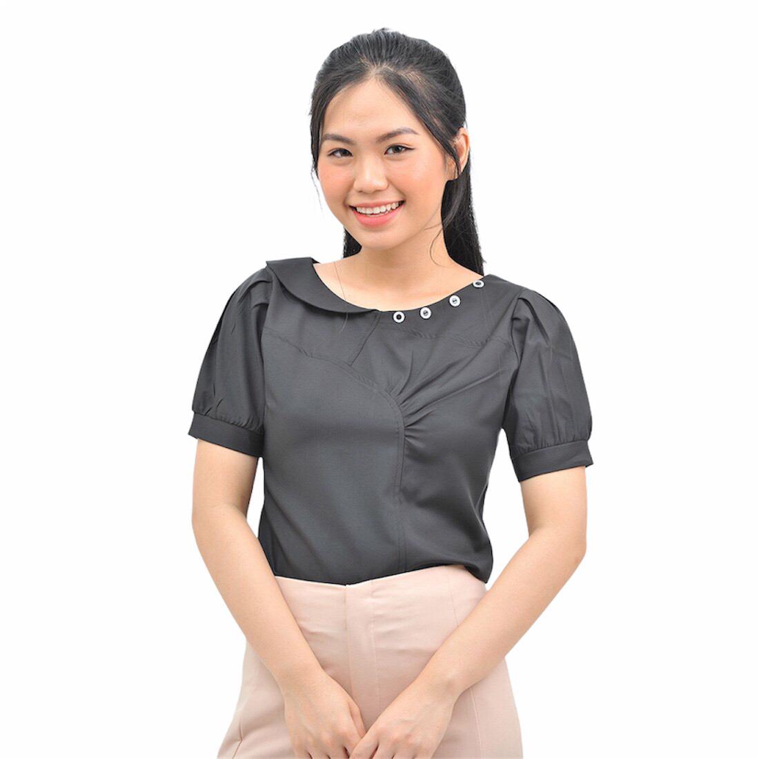Áo kiểu nữ thời trang Eden cổ tròn cách điệu. Kiểu dáng trẻ trung, nữ tính. Chất liệu mềm mại, không nhăn - ASM124