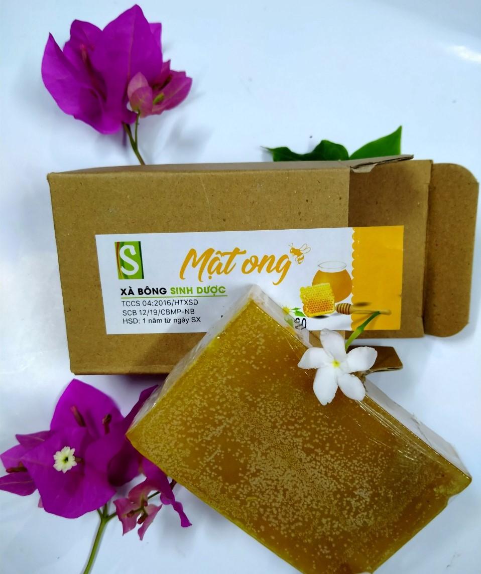 Bánh Xà bông Sinh Dược Mật ong 100 gram, tốt cho da mụn, tặng kèm túi lưới tạo bọt
