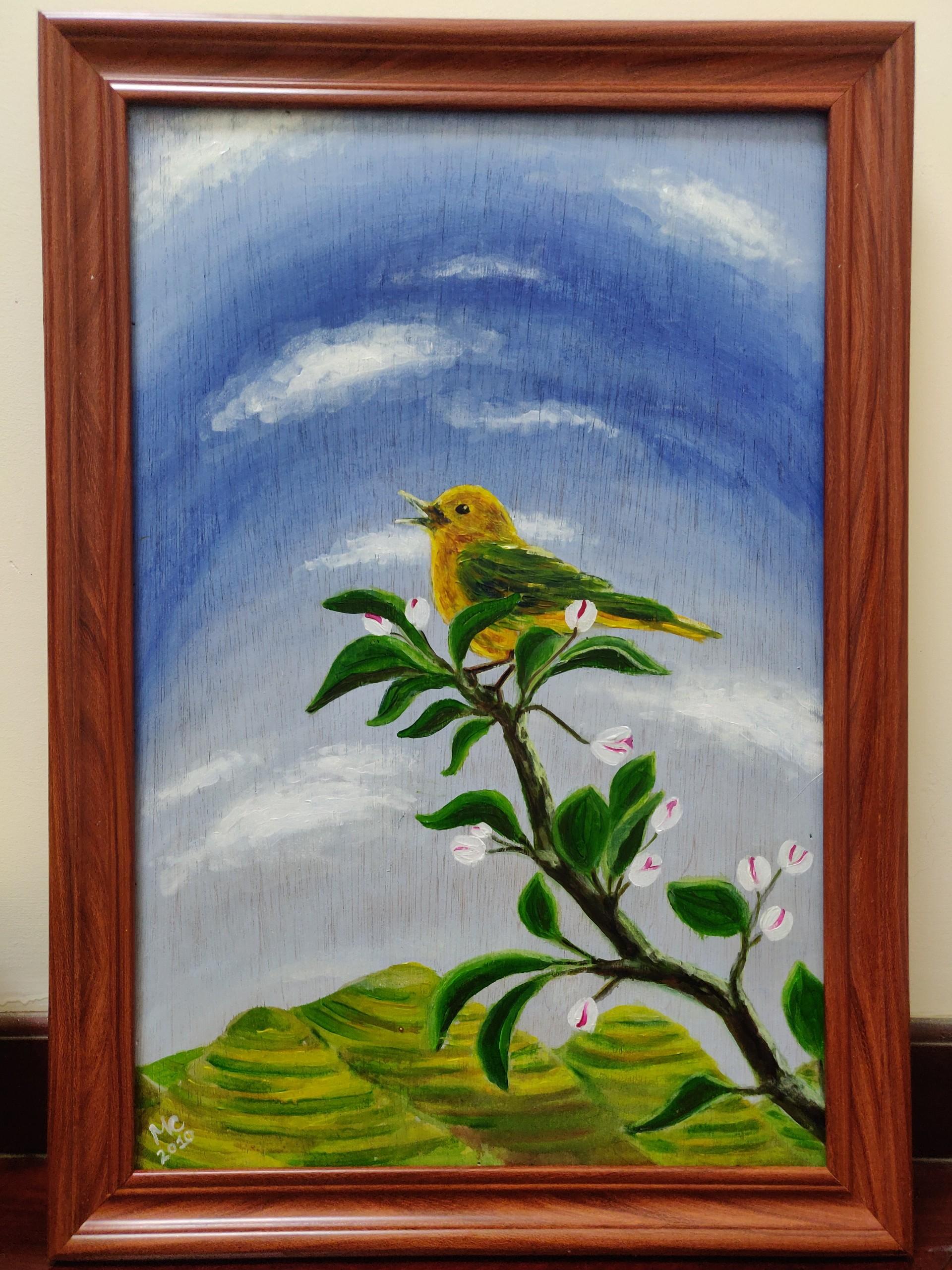 Tranh sơn dầu họa sỹ sáng tác vẽ tay: CHÚ CHIM VÀNG