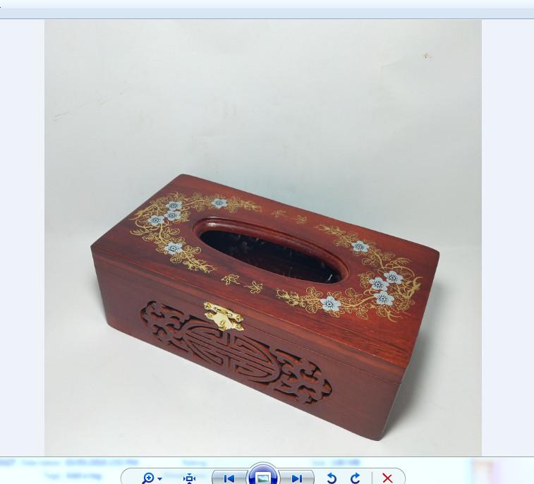 Hộp giấy ăn gỗ hương hoa văn phong thủy có chốt cài - ảnh thật