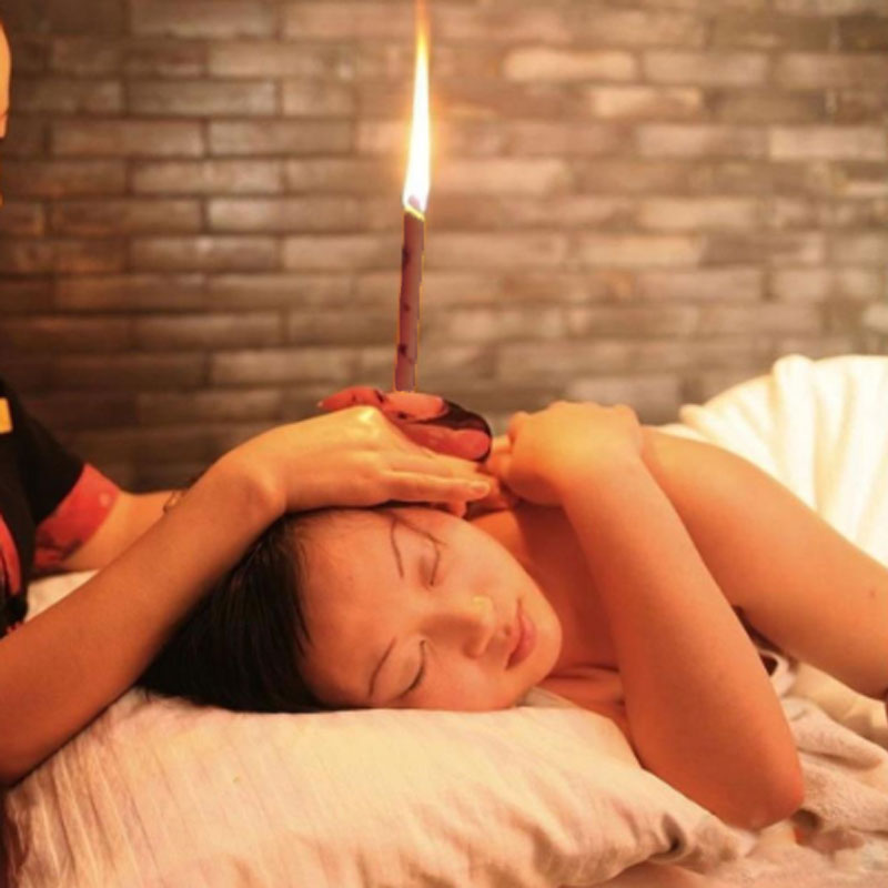 2PCS Natural Ear Candling Therapy Straight Ear Care & Ear Candle Coffee - Brown
