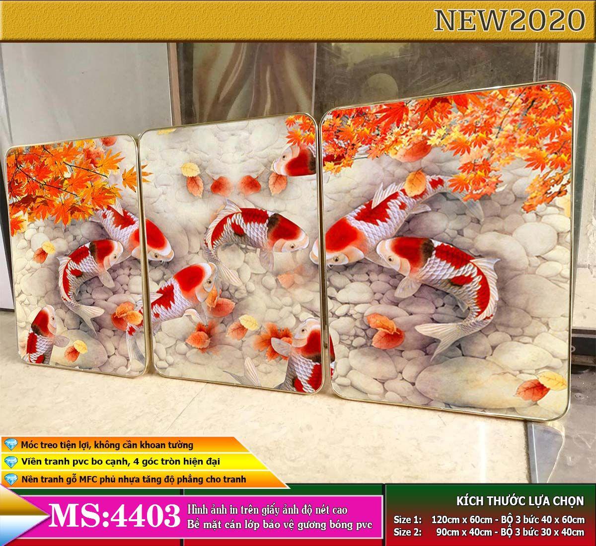 Bộ tranh treo tường 3 tấm trang trí phòng khách, phòng ngủ phong cách mỹ thuật hiện đại chất liệu cán pvc gương:4403L15