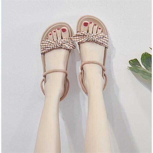 Dép Nữ Quai Gắn Nơ Đế Êm Chân Phối Dây Xinh Phiên Bản Hàn Quốc MBS170 - Mery Shoes