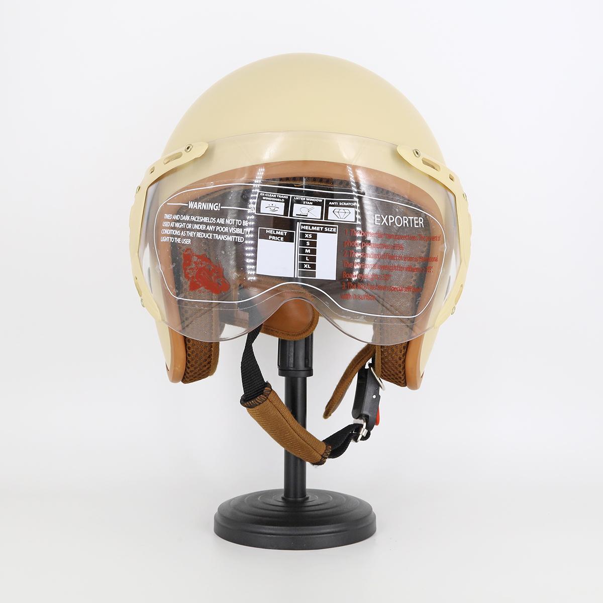 Mũ Bảo Hiểm Có Kính 3/4 Đầu 368k Lót Màu Cao Cấp – Màu Kem Lót Nâu Kính Trong _ Chống bụi, chống nắng đi được cả ban đêm