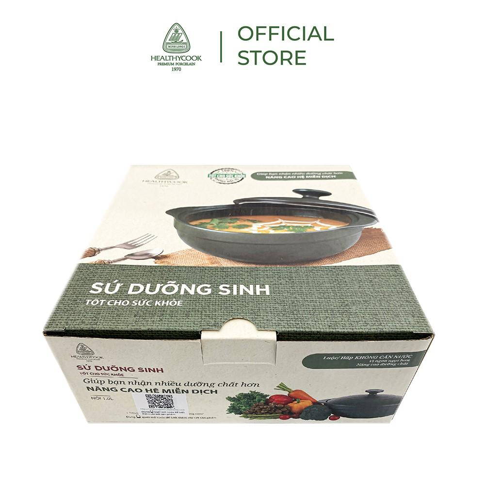 Nồi sứ dưỡng sinh Minh Long - Luna 0.55 L + nắp dùng cho bếp gas, bếp hồng ngoại