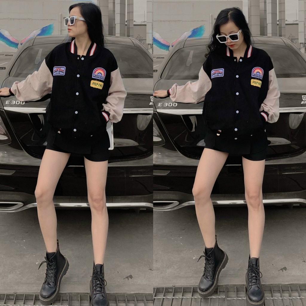 Áo khoác nhung bomber nữ in hình cầu vồng AKN01