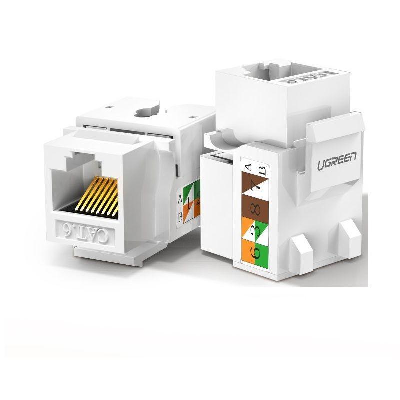 Hạt nhấn mạng màu trắng Jack modulator gigabit LAN Ethernet 8P8C RJ45 1000 Mbps 568A-B Ugreen 143HN80178NW cat6 hàng chính hãng
