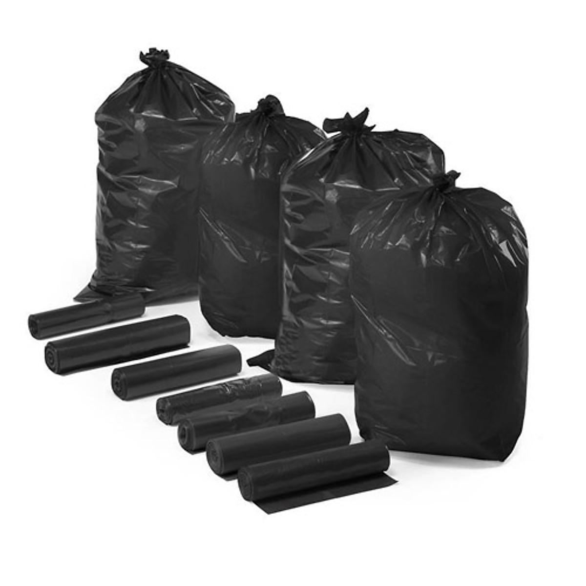 Combo 9 cuộn Túi đựng rác văn phòng, Bao đựng rác trường học tiện lợi màu đen size trung 55x65