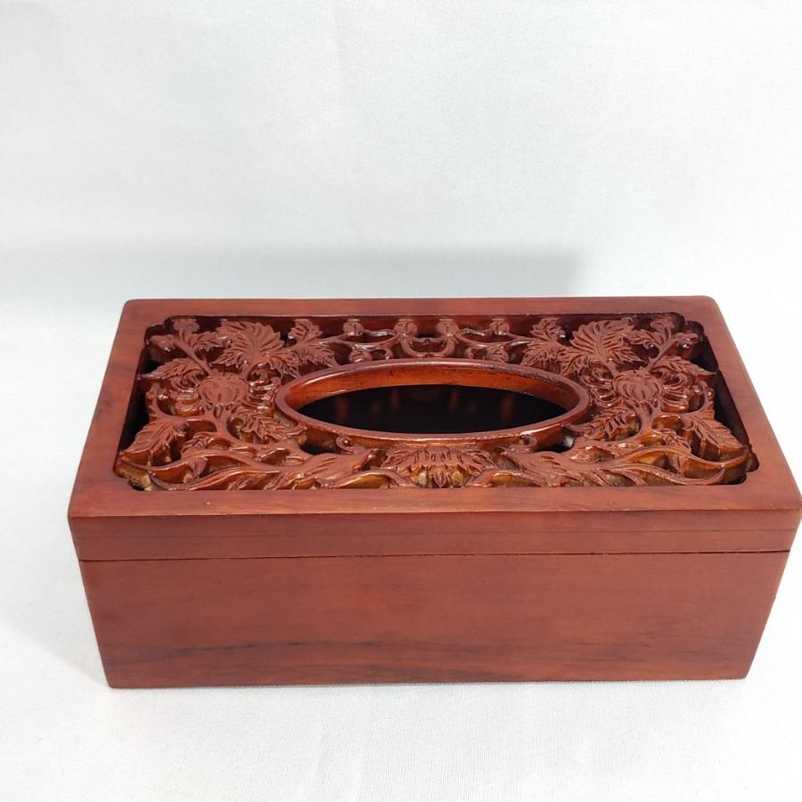 Hộp đựng giấy ăn Chim Trĩ hoa cúc bằng gỗ  MS002
