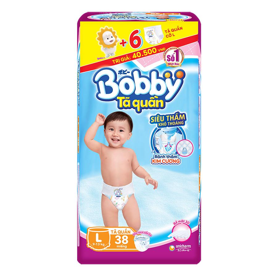 Tã Quần Bobby Gói Lớn L38 38 Miếng  6 Miếng Cùng Size