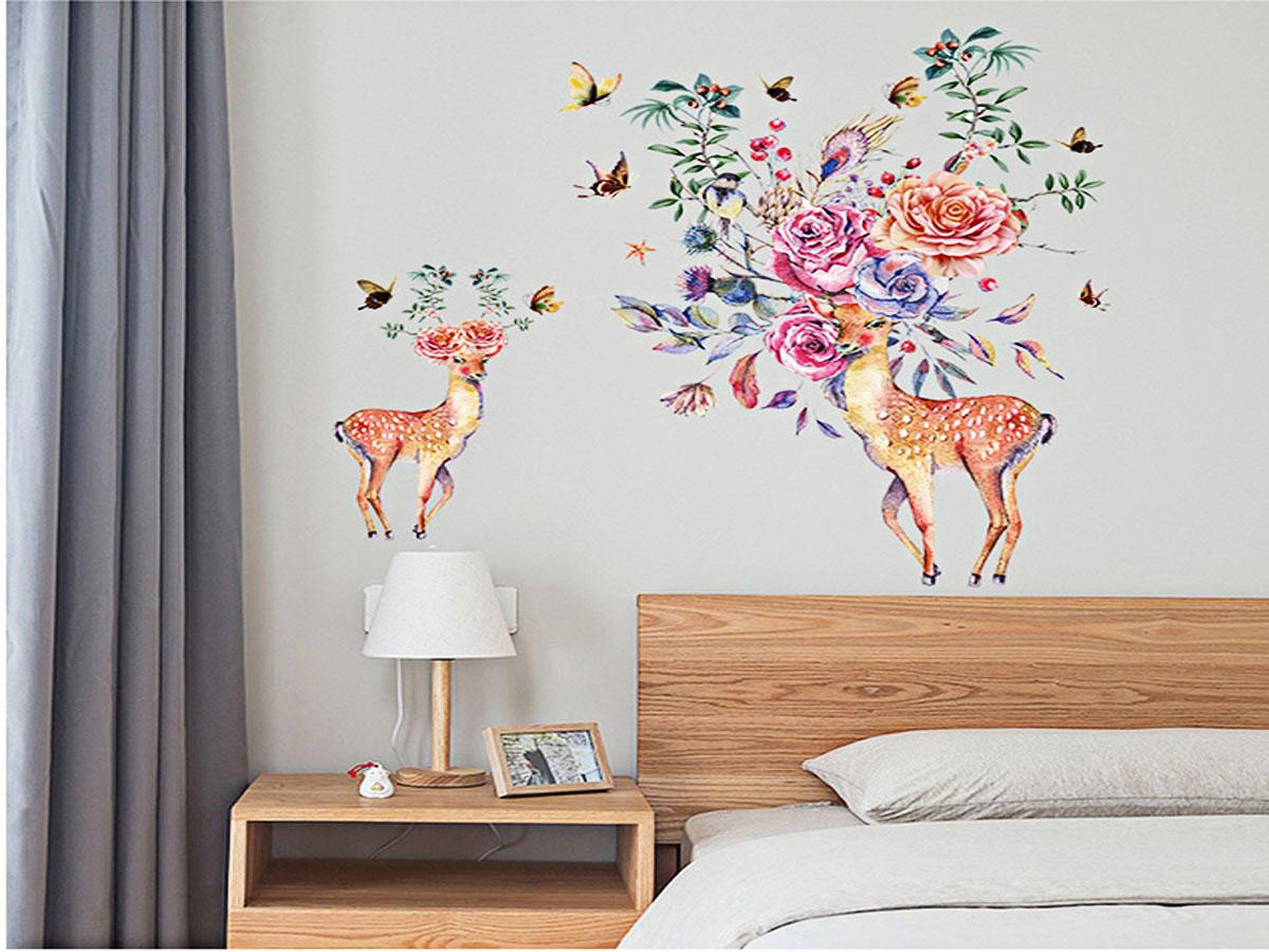 Decal dán tường hươu sừng hoa sk9273