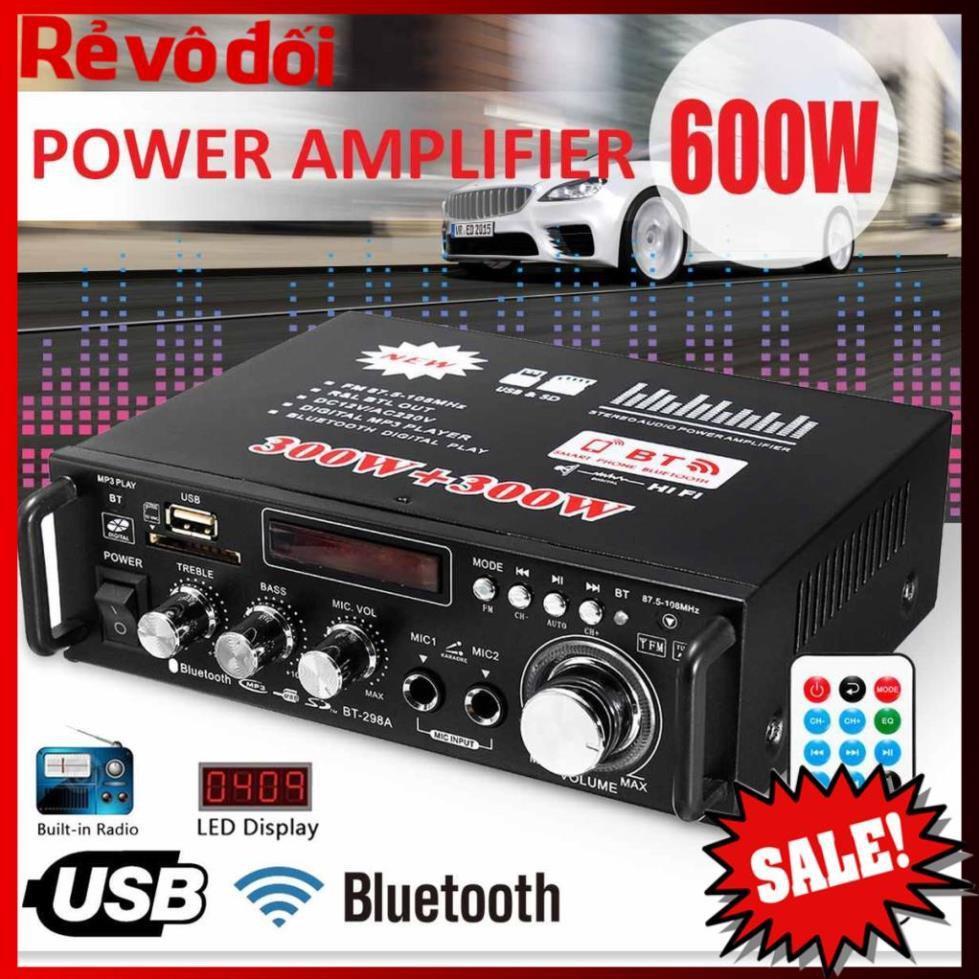 12V 220V BT-298A 2CH LCD Display Digital HIFI Audio Stereo Power Amplifier Bluetooth FM Radio Car Home 600W-Cao Cấp Loại