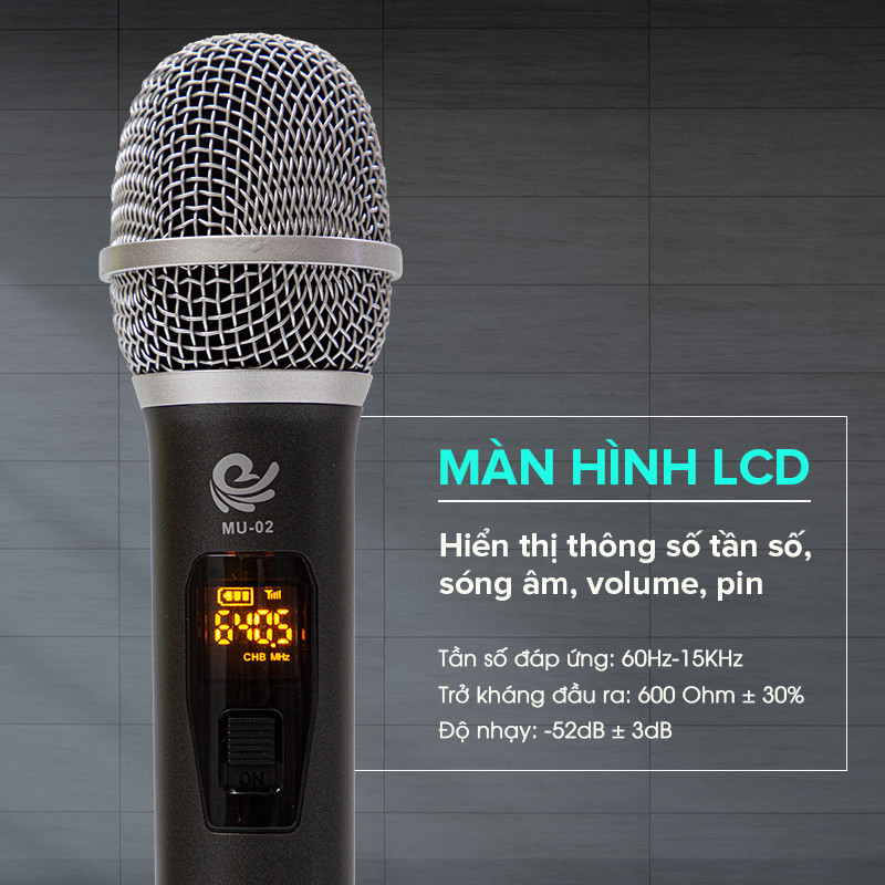 Bộ 2 Micro Không Dây Karaoke Cực Hay MU02 Màu Xám, Kết Nối Với Loa Kéo, Amply Bằng Cổng MIC 6. Chính Hãng
