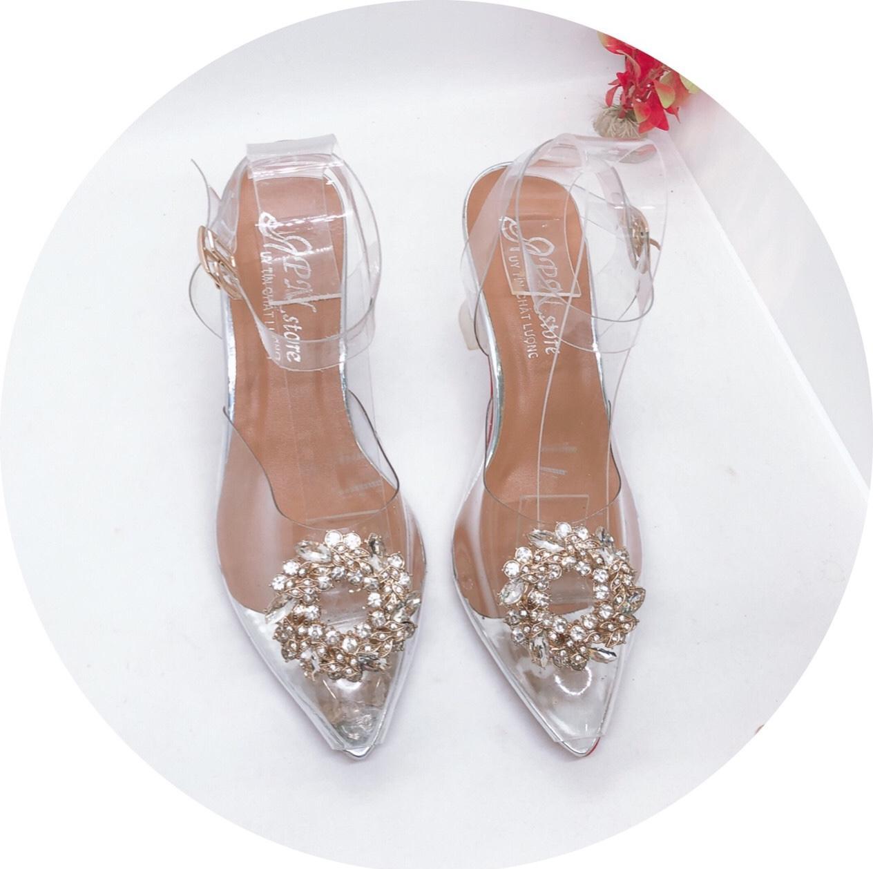 Giày  Cao Nữ Đẹp Khóa Hoa Lúa Quai Hậu Mica Cao Cấp Cao 7 Cm Phong Cách Hàn Quốc ( Tặng Ví Nữ Ngẵn Cao Cấp Mẫu Ngẫu Nhiên)