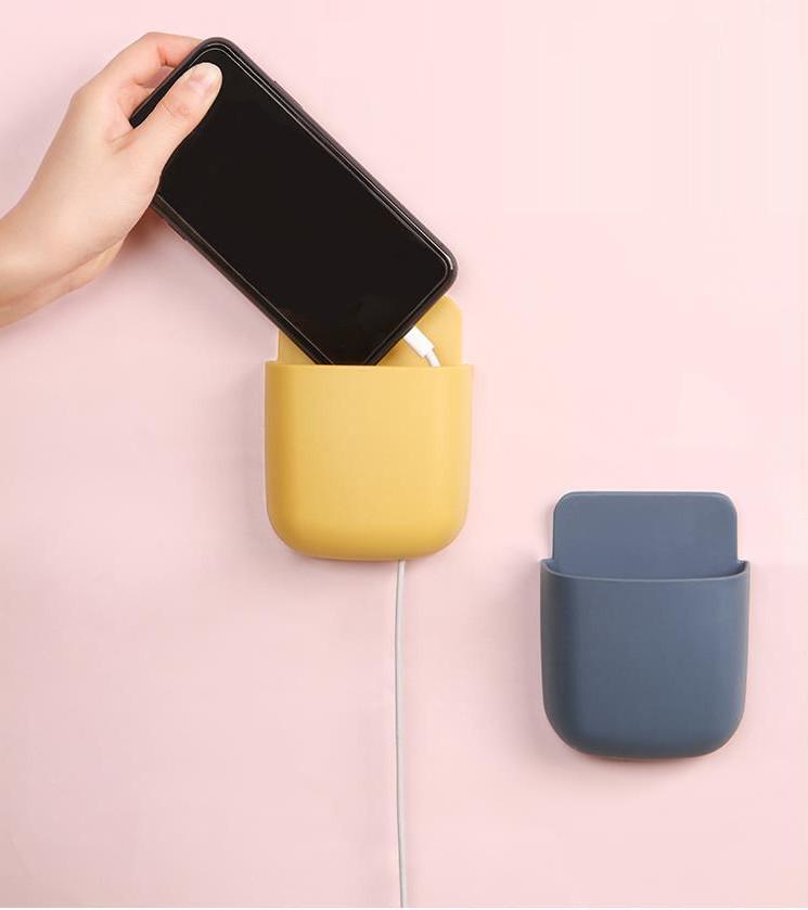 Hộp treo sạc điện thoại, kệ treo remote, đồ dùng  dán tường đa năng tiện lợi giúp không gian gọn gàng, ngăn nắp (màu ngẫu nhiên) GD462-hoptreosac