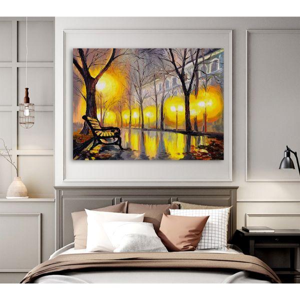 Tranh canvas phong cảnh phố đêm treo tường trang trí