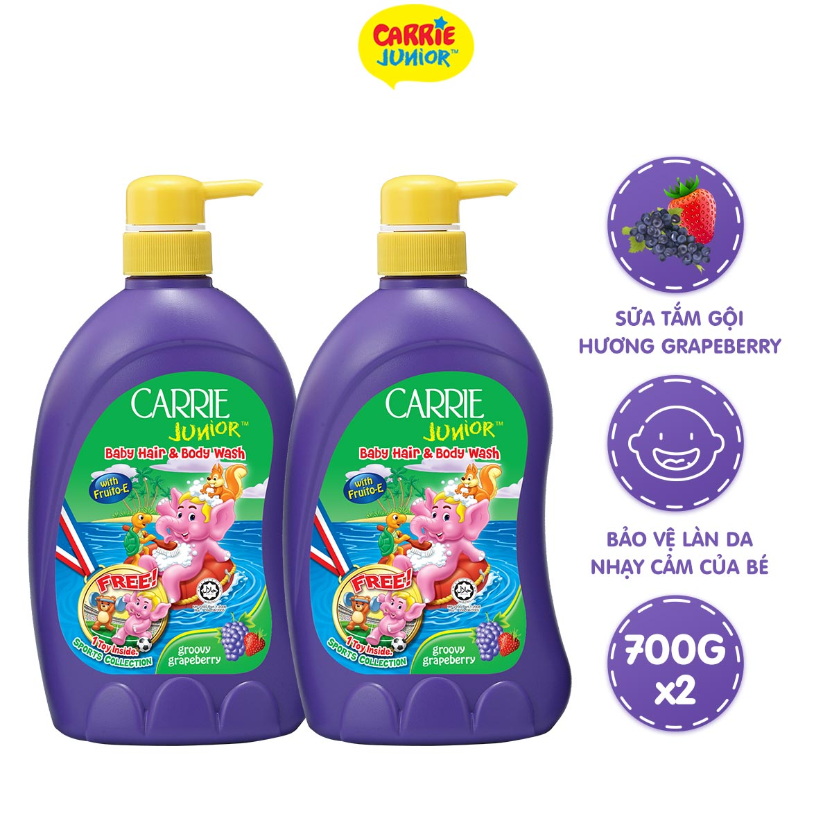Combo 2 Sữa Tắm Gội cho bé Carrie Junior Hương Grapeberry (700g/chai)