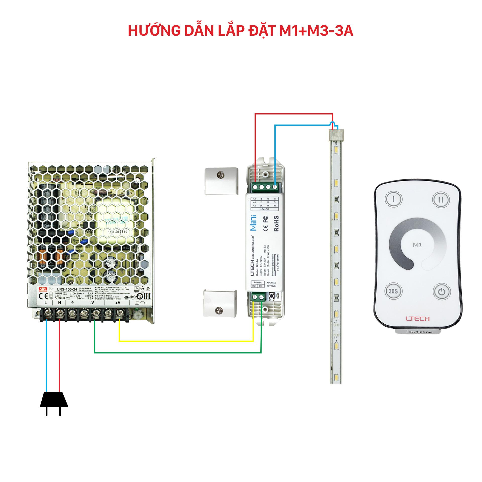 Bộ Điều Khiển Đèn Led Ltech M1+M3-3A Tăng Giảm Cường Độ Ánh Sáng, LED Dimmer Controller - Hàng Nhập Khẩu