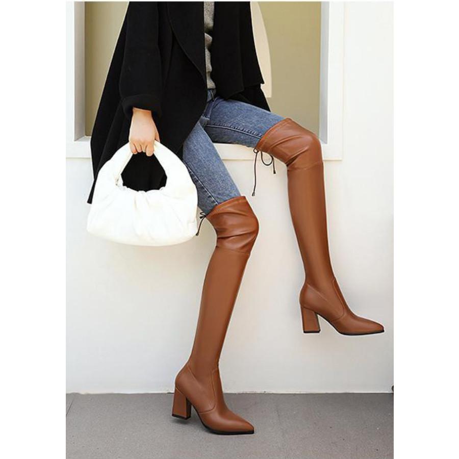 Boot đùi màu nâu da bóng gót vuông SÀNH ĐIỆU GCC3702