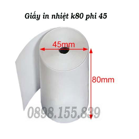 Giấy in nhiệt k80 phi 45mm